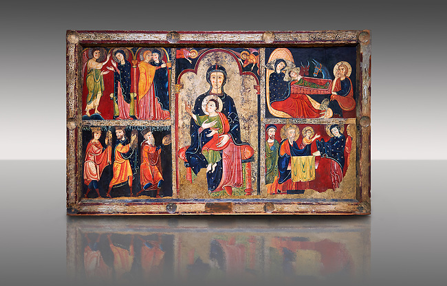 """The Romanesque Altar Front of Avia<br /> <br /> Around 1200, Tempera on wood with metalic ornamention from the church of Santa Maria d'Avia, Spain.<br /> <br /> National Art Museum of Catalonia, Barcelona. MNAC 15784<br /> <br /> <br /> The altar front of Byzantine art d'Avia depicting scenes from the life of the Virgin Mary and the nativity. The artistic style of the Altar front relies heavily of Byzantine influences. The intensity and variety of colors and the systematic application of appliqué are typical of eastern Mediterranean and Byzantine art . This can also be seen in the style and hand positions of the Virgin Mary and child, at the centre of the altar piece, which copies a style known as """"Our Lady of the Way"""" which in turn minics the orthodox icon """"the Virgin Hodegetria""""."""