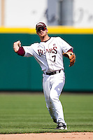 Joey Hawkins (7) of the Missouri State Bears throws a ball to third base during a game against the Evansville Purple Aces at Hammons Field on May 12, 2012 in Springfield, Missouri. (David Welker/Four Seam Images)