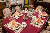 Peranakan Mansion, Small Dining Room Table Setting,  George Town, Penang, Malaysia.