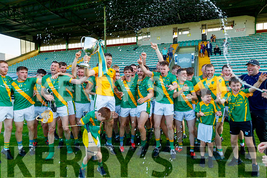 John B. O'Halloran Captain, celebrates with his teamates after the Kerry County Senior Hurling Championship Final match between Kilmoyley and Causeway at Austin Stack Park in Tralee