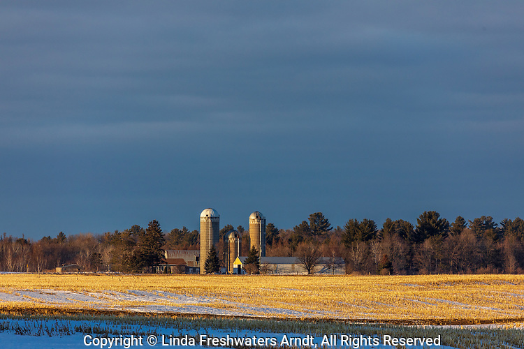 The late afternoon light illuminating a farm in northern Wisconsin.