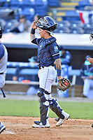 Asheville Tourists catcher Korey Lee (5) during a game against the Brooklyn Cyclones on May 8, 2021 at McCormick Field in Asheville, NC. (Tony Farlow/Four Seam Images)