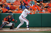 Clemson Tigers  right fielder Steven Duggar #9 attempts to bunt during a game against the Virginia Cavaliers  at Doug Kingsmore Stadium on March 15, 2013 in Clemson, South Carolina. The Cavaliers won 6-5.(Tony Farlow/Four Seam Images).