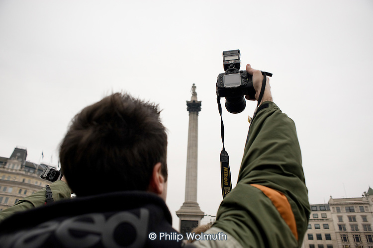 I'm a Photographer Not a Terrorist protest in Trafalgar Square against the arbitary use of the terrorism laws to stop and search photographers.