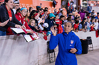 HOUSTON, TX - FEBRUARY 03: Christen Press #20 of the United States waves to fans during a game between Costa Rica and USWNT at BBVA Stadium on February 03, 2020 in Houston, Texas.