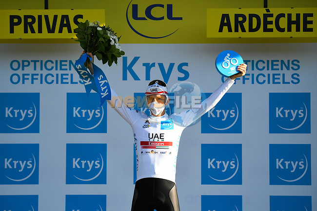 Tadej Pogacar (SLO) retains the young riders White Jersey at the end of Stage 5 of Tour de France 2020, running 183km from Gap to Privas, France. 2nd September 2020.<br /> Picture: ASO/Alex Broadway | Cyclefile<br /> All photos usage must carry mandatory copyright credit (© Cyclefile | ASO/Alex Broadway)