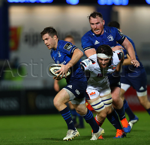16th November 2020; RDS Arena, Dublin, Leinster, Ireland; Guinness Pro 14 Rugby, Leinster versus Edinburgh; Luke McGrath (Leinster) slips through the tackle to score a try