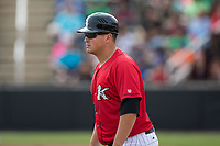 Kannapolis Intimidators manager Justin Jirschele (9) coaches third base during the game against the Rome Braves at Kannapolis Intimidators Stadium on April 12, 2017 in Kannapolis, North Carolina.  The Braves defeated the Intimidators 4-3.  (Brian Westerholt/Four Seam Images)