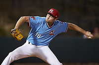 Hickory Crawdads relief pitcher Lucas Jacobsen (18) in action against the Charleston RiverDogs at L.P. Frans Stadium on August 10, 2019 in Hickory, North Carolina. The RiverDogs defeated the Crawdads 10-9. (Brian Westerholt/Four Seam Images)