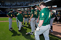 Siena Saints head coach Tony Rossi (40) addresses the team before a game against the UCF Knights on February 17, 2019 at John Euliano Park in Orlando, Florida.  UCF defeated Siena 7-1.  (Mike Janes/Four Seam Images)