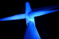 GERMANY Uetersen, light installation of artist Gisela Meyer-Hahn at three AN-Bonus wind turbines in a windpark of planet energy / DEUTSCHLAND, Uetersen, Lichtinstallation der Kuenstlerin Gisela Meyer-Hahn an drei AN-Bonus Windturbinen eines Windpark von planet energy bei Uetersen - photo copyright: Joerg Boethling, reproduction right: VG BILD KUNST / Gisela Meyer-Hahn