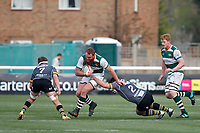 Jordan Els of Ealing Trailfinders fends off Ben Brownlie of Nottingham Rugby during the Greene King IPA Championship match between Ealing Trailfinders and Nottingham Rugby at Castle Bar , West Ealing , England  on 30 March 2019. Photo by Carlton Myrie.