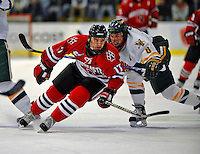 18 January 2008: Northeastern University Huskies' forward Steve Silva, a Freshman from Tyngsboro, MA, in action against the University of Vermont Catamounts at Gutterson Fieldhouse in Burlington, Vermont. The two teams battled to a 2-2 tie in the first game of their 2-game weekend series...Mandatory Photo Credit: Ed Wolfstein Photo