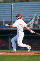 Auburn Doubledays left fielder Nick Banks (34) at bat during a game against the Williamsport Crosscutters on June 26, 2016 at Falcon Park in Auburn, New York.  Auburn defeated Williamsport 3-1.  (Mike Janes/Four Seam Images)