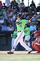 Drew Ellis (15) of the Hillsboro Hops bats during a game against the Spokane Indians at Ron Tonkin Field on July 23, 2017 in Hillsboro, Oregon. Spokane defeated Hillsboro, 5-3. (Larry Goren/Four Seam Images)