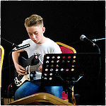 Pix: Shaun Flannery/shaunflanneryphotography.com<br /> <br /> COPYRIGHT PICTURE>>SHAUN FLANNERY>01302-570814>>07778315553>>        12th July 2015 <br /> Mason Flannery - Epiphone Worn Wilshire 66<br /> Barnburgh Church Hall