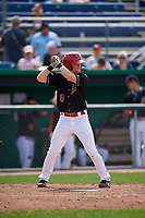 Batavia Muckdogs second baseman Luke Jarvis (8) at bat during a game against the Auburn Doubledays on September 1, 2018 at Dwyer Stadium in Batavia, New York.  Auburn defeated Batavia 10-5.  (Mike Janes/Four Seam Images)
