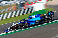 18th July 2021; Silverstone Circuit, Silverstone, Northamptonshire, England; Formula One British Grand Prix, Race Day; Williams Racing driver George Russell in his Williams FW43B Mercedes-AMG F1 M12 speeds through Club corner