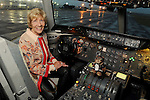 Donna Teichman in the cockpit  of the Orbis Flying Eye Hospital at Ellington Airport Tuesday Oct. 20,2015.(Dave Rossman photo)