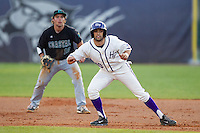 Tim Mansfield (40) of the High Point Panthers takes his lead off of first base against the Coastal Carolina Chanticleers at Willard Stadium on March 15, 2014 in High Point, North Carolina.  The Panthers defeated the Chanticleers 11-8 in game two of a double-header.  (Brian Westerholt/Four Seam Images)