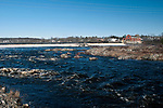 Milford Dam, Milford, Maine during high water event, wide shot