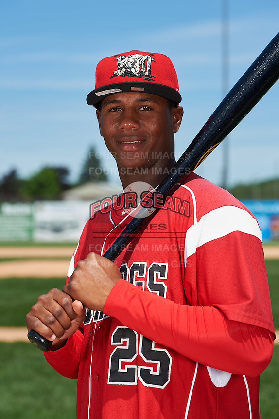 Batavia Muckdogs infielder Samuel Castro (25) poses for a photo before the teams first practice on June 15, 2016 at Dwyer Stadium in Batavia, New York.  (Mike Janes/Four Seam Images)