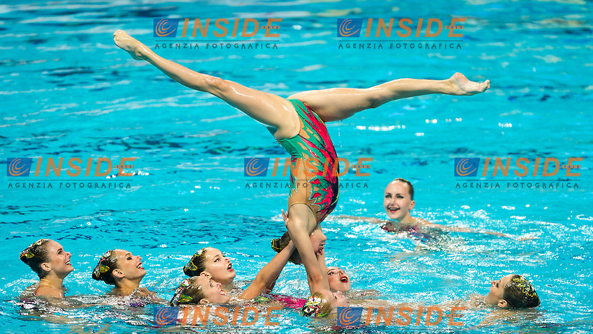 BLR - Belarus<br /> LIMANOUSKAYA Iryna NAVASIOLAVA Anastasiya<br /> SHULHINA Hanna TALEIKO Volha<br /> TARAKHOVICH Anastasiya TSYPLAKOVA Dominika<br /> VALASACH Valeryia WARDAK Elmira<br /> YESIPOVICH Veronika ZHYSHKEVICH Iya<br /> Day 9 01/08/2015<br /> XVI FINA World Championships Aquatics<br /> Synchro<br /> Kazan Tatarstan RUS July 24 - Aug. 9 2015 <br /> Photo Pasquale Mesiano/Deepbluemedia/Insidefoto
