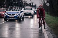 Nathan Haas (AUS/Katusha-Alpecin) making a stop to be able to properly put on his rain jacket<br /> <br /> 109th Milano-Sanremo 2018<br /> Milano > Sanremo (291km)