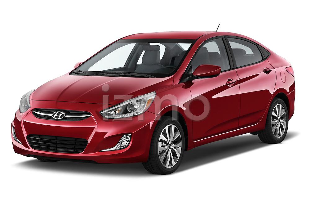 2015 Hyundai Accent GLS 4-Door 6-Speed Automatic 2 Door Sedan Angular Front stock photos of front three quarter view