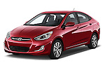 2015 Hyundai Accent GLS 4-Door 6-Speed Automatic 2 Door Sedan Angular Front stock photos of front three quarter view