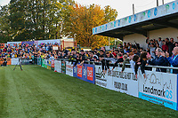 9th October 2021;  VBS Community Stadium, Sutton, London; EFL League 2 football, Sutton United versus Port Vale 9th October 2021; Sutton United fans celebrate their team winning 4-3.