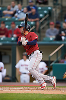 Lehigh Valley IronPigs second baseman Tyler Henson (9) at bat during a game against the Rochester Red Wings on May 15, 2015 at Frontier Field in Rochester, New York.  Rochester defeated Lehigh Valley 5-4.  (Mike Janes/Four Seam Images)