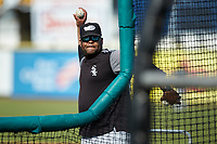 Winston-Salem Dash hitting coach Jaime Dismuke (33) throws batting practice prior to the game against the Down East Wood Ducks at Grainger Stadium on May 17, 2019 in Kinston, North Carolina. The Dash defeated the Pelicans 8-2. (Brian Westerholt/Four Seam Images)