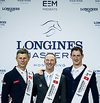 Patrice Delaveau of France riding Aquila HDC celebrates winning the Longines Grand Prix, with the second placed Max Kuhner of Austria riding Clelito Lindo 2 and the third placed Daniel Deusser of Germany riding Cornet D'Amour during the Longines Masters of Hong Kong at AsiaWorld-Expo on 11 February 2018, in Hong Kong, Hong Kong. Photo by Ian Walton / Power Sport Images