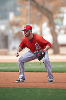 Los Angeles Angels Andrew Daniel (18) during an instructional league game against the Texas Rangers on October 5, 2015 at the Surprise Stadium Training Complex in Surprise, Arizona.  (Mike Janes/Four Seam Images)