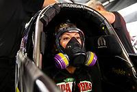May 5, 2018; Commerce, GA, USA; NHRA top fuel driver Leah Pritchett during qualifying for the Southern Nationals at Atlanta Dragway. Mandatory Credit: Mark J. Rebilas-USA TODAY Sports