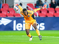 WASHINGTON, DC - APRIL 17: Sean Johnson #1 of New York City FC rolls out the ball during a game between New York City FC and D.C. United at Audi Field on April 17, 2021 in Washington, DC.