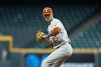 Texas Longhorns starting pitcher Coy Cobb (45) in action against the Missouri Tigers in game eight of the 2020 Shriners Hospitals for Children College Classic at Minute Maid Park on March 1, 2020 in Houston, Texas. The Tigers defeated the Longhorns 9-8. (Brian Westerholt/Four Seam Images)
