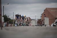 breakaway group over the cobbles led by Guillaume van Keirsbulck (BEL/Etixx-QuickStep)<br /> <br /> 101st Kampioenschap van Vlaanderen 2016 (UCI 1.1)<br /> Koolskamp › Koolskamp (192.4km)