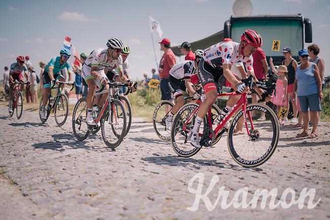 POlka Dot Jersey Tom Skujins (LAT/Trek Segafredo) at the end of pavé sector #9<br /> <br /> Stage 9: Arras Citadelle > Roubaix (154km)<br /> <br /> 105th Tour de France 2018<br /> ©kramon