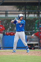 Toronto Blue Jays Francisco Ruiz (33) at bat during an Instructional League game against the Philadelphia Phillies on September 27, 2019 at Englebert Complex in Dunedin, Florida.  (Mike Janes/Four Seam Images)