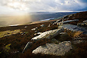 Derwent Edge after rainstorm, with gritstone boulders in foreground. Peak District National Park, Derbyshire, March.