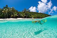 Snorkeler Jen Gibbud in the clear calm water at.Salomon Beach.Virgin Islands National Park.St. John, U.S. Virgin Islands