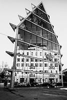 Milano Porta Volta. Il nuovo edificio sede della Fondazione Feltrinelli, centro culturale e libreria disegnato dallo studio Herzog & De Meuron --- Milan, Porta Volta district. The new building headquarter of the Feltrinelli foundation, hosting a cultural center and a bookstore and designed by studio Herzog & De Meuron