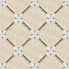 Flower Lattice, a hand-cut stone mosaic, shown in polished Verde Luna, Crema Valencia, Calacatta Tia, tumbled Crema Marfil, honed Montevideo, and Jura Gray. Design is all 1 cm.