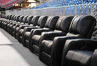 Oct. 8, 2009; Las Vegas, NV, USA; Detailed view of a UFL logo on luxury front row recliners in the grandstands prior to the game between the California Redwoods against the Las Vegas Locomotives in the inaugural United Football League game at Sam Boyd Stadium. Las Vegas defeated California 30-17. Mandatory Credit: Mark J. Rebilas-
