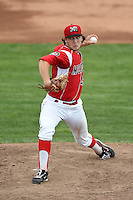 Batavia Muckdogs pitcher Michael Mader (21) delivers a pitch during a game against the Williamsport Crosscutters on July 27, 2014 at Dwyer Stadium in Batavia, New York.  Batavia defeated Williamsport 6-5.  (Mike Janes/Four Seam Images)