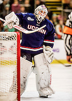 20 January 2017: University of Connecticut Husky Goaltender Goaltender Rob Nichols, a Senior from Dallas, Texas, enters the game in the second period against the University of Vermont Catamounts at Gutterson Fieldhouse in Burlington, Vermont. The Huskies fell to the Catamounts 5-4 in the first game of their Home-and-Home Hockey East Series. Mandatory Credit: Ed Wolfstein Photo *** RAW (NEF) Image File Available ***