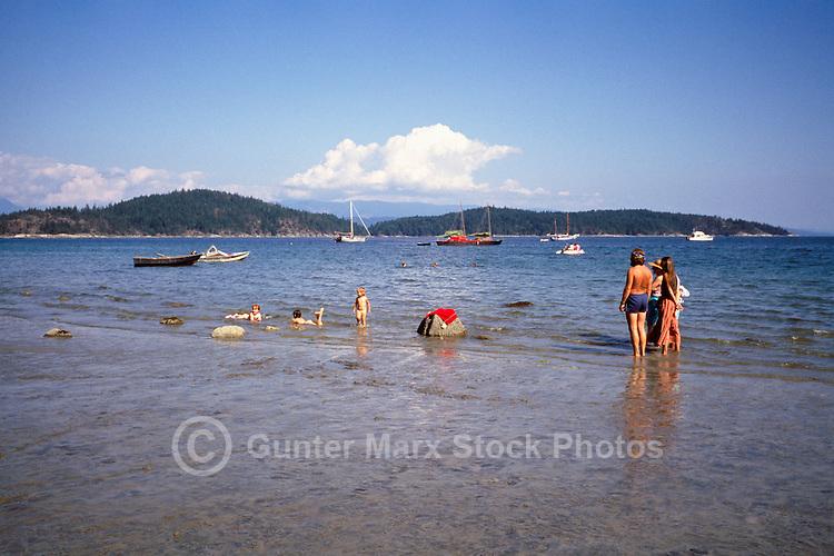 Cortez Island, BC, British Columbia, Canada - Family at Beach at Desolation Sound