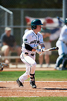 Dartmouth Big Green second baseman Sean Sullivan (4) hits a single during a game against the Villanova Wildcats on March 3, 2018 at North Charlotte Regional Park in Port Charlotte, Florida.  Dartmouth defeated Villanova 12-7.  (Mike Janes/Four Seam Images)